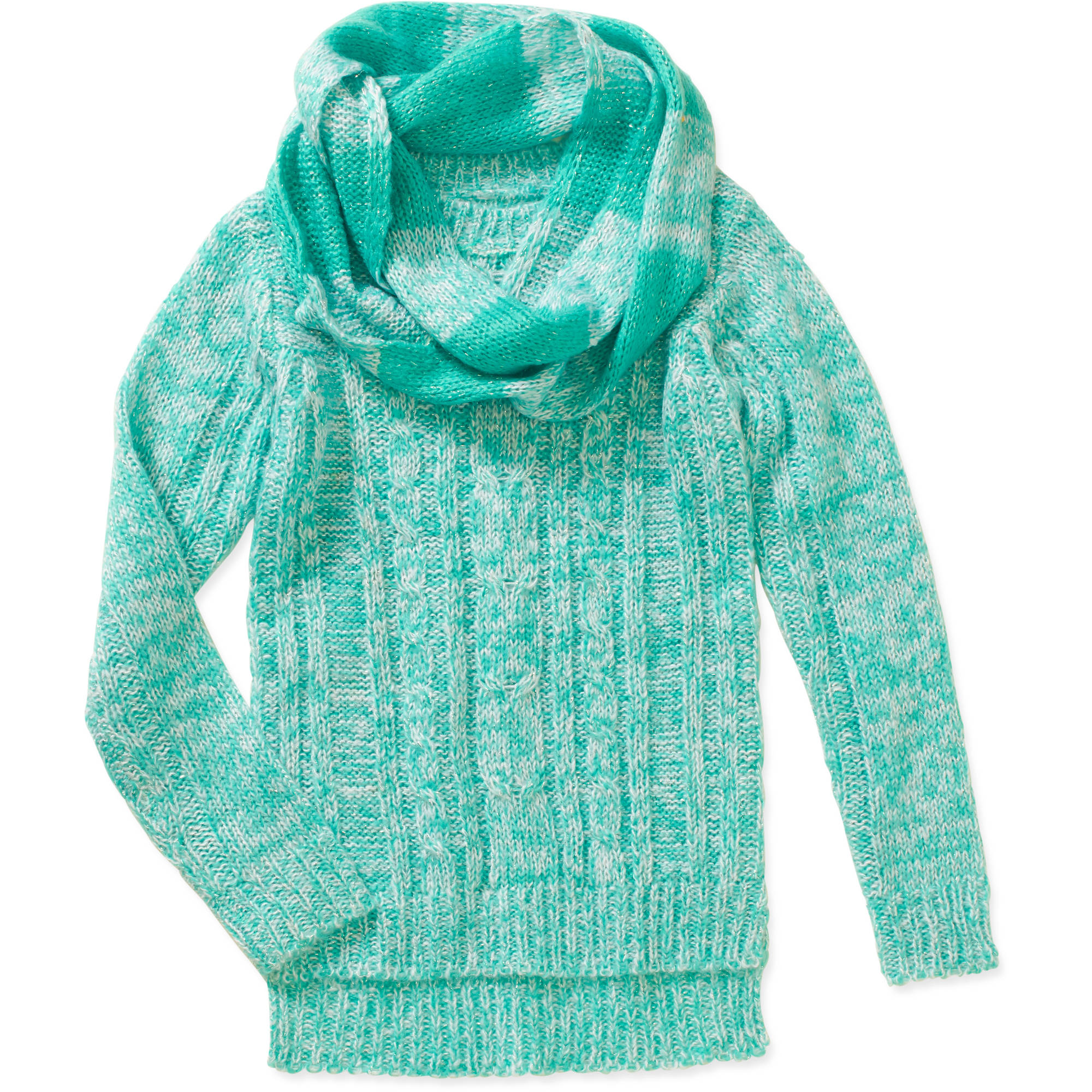Derek Heart Girls Cable Sweater with Infinity Scarf