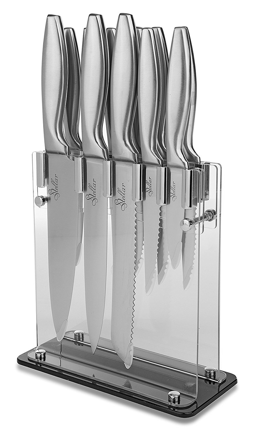 Premium Sharp Kitchen Knives! Stainless Steel Knife Set 12 PIECE. STELLAR Stainless Steel Knife Set : Stand, Chef Knife, Bread Knife, Paring... by LIVEDITOR LIGHTING