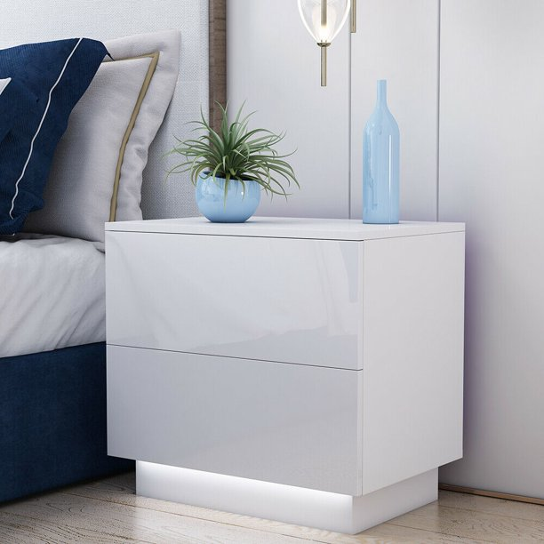 2 Drawers LED Nightstand with Remote Control, Bedside End Table Organizer - High Gloss White / Black Finish