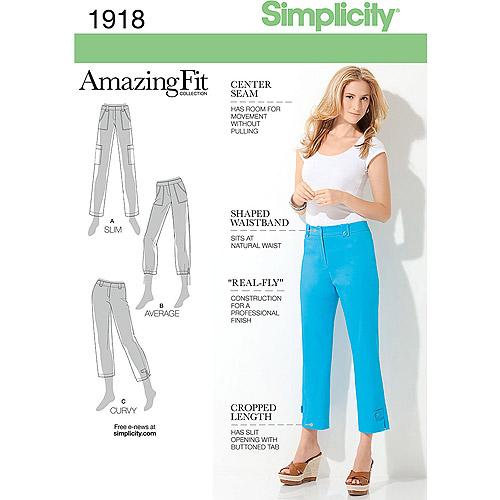 Simplicity Pattern Misses' & Miss Petite Amazing Fit Pants-6-8-10-12-14, Pk 1
