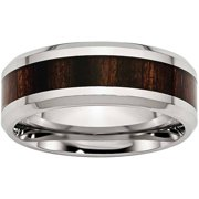 Stainless Steel Polished Black Wood Inlay Enameled 8.00mm Ring, Available in Multiple Sizes