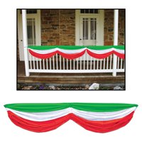 Morris Costumes Party Supplies Fiesta Red White Green Fabric Bunting, Style BG50948RWG