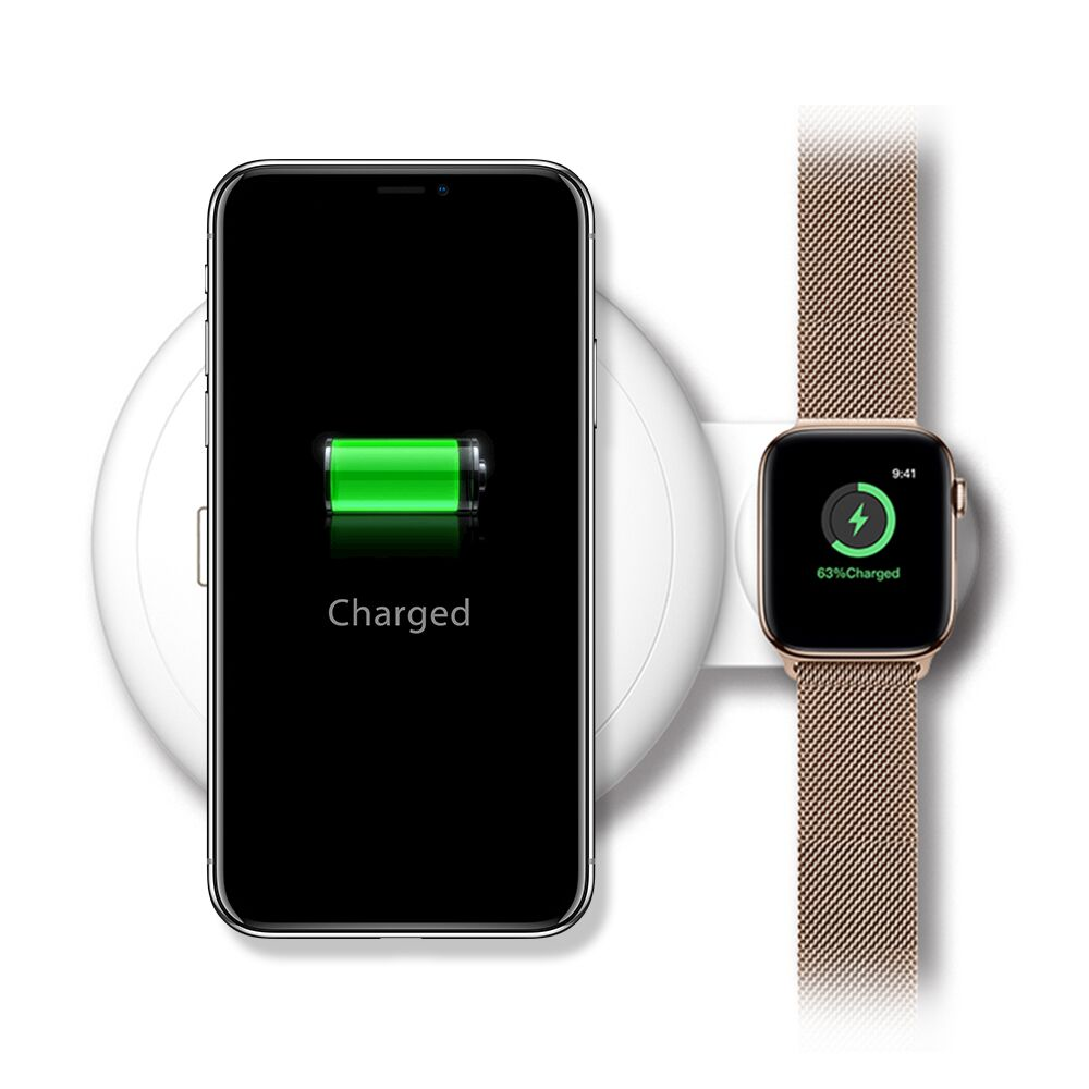 Luxmo For Samsung Wireless Charging Pad 7.5W All Qi-enabled Fast Charger Stand Compatible with iPhone X,for iPhone Xs/X /8 Samsung Galaxy S9/S8/S7/Note 8 for iWatch Charger for Series 4,3,2,1,White
