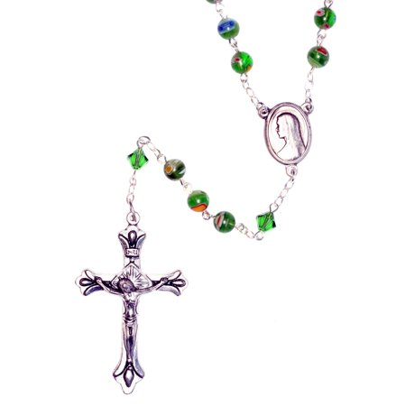 Silver Plate Rosary Made with Murano Green Millifiori Glass and Swarovski (Green Swarovski Glass)