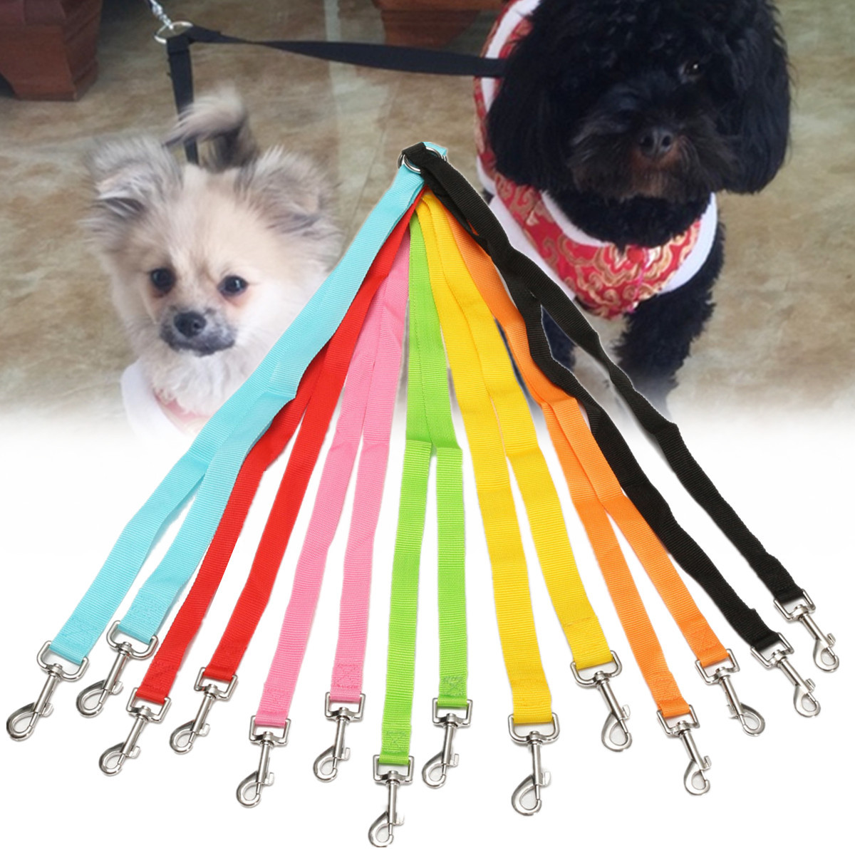 Double Dog Coupler Twin Lead - Safety Dog Leash Coupler Double Lead 2 Way No Tangle Dual Twin Walk Pet Duplex 50cm
