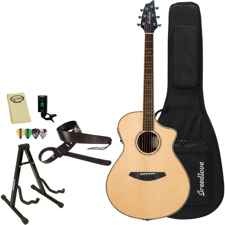 Breedlove Stage Concert Acoustic Electric Guitar with Breedlove Deluxe Foam Shell Case and ChromaCast Accessories