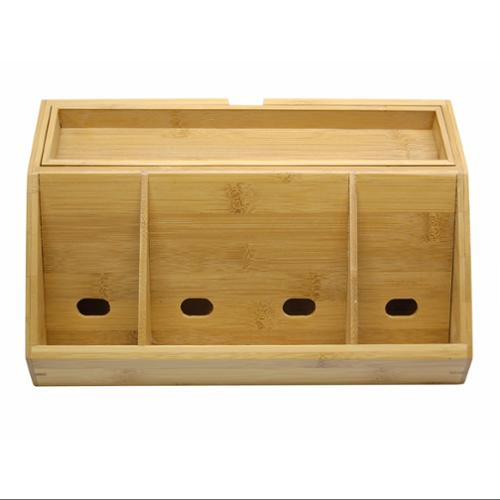"Lipper Bamboo Charging Station - Desktop, Counter, Stand Mountable - 4.3"" Height X 11.8"" Width X 6.8"" Depth - Bamboo (812_2)"