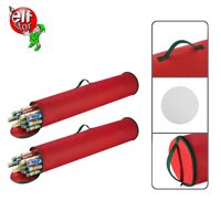 Elf Stor 2-Pack Christmas Gift 40.5 inch Wrapping Paper Wrap Storage Bag Red Stand Up