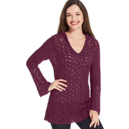 Pointelle Knit Tunic - Style & co Pointelle-Knit Hooded Pullover Tunic, S