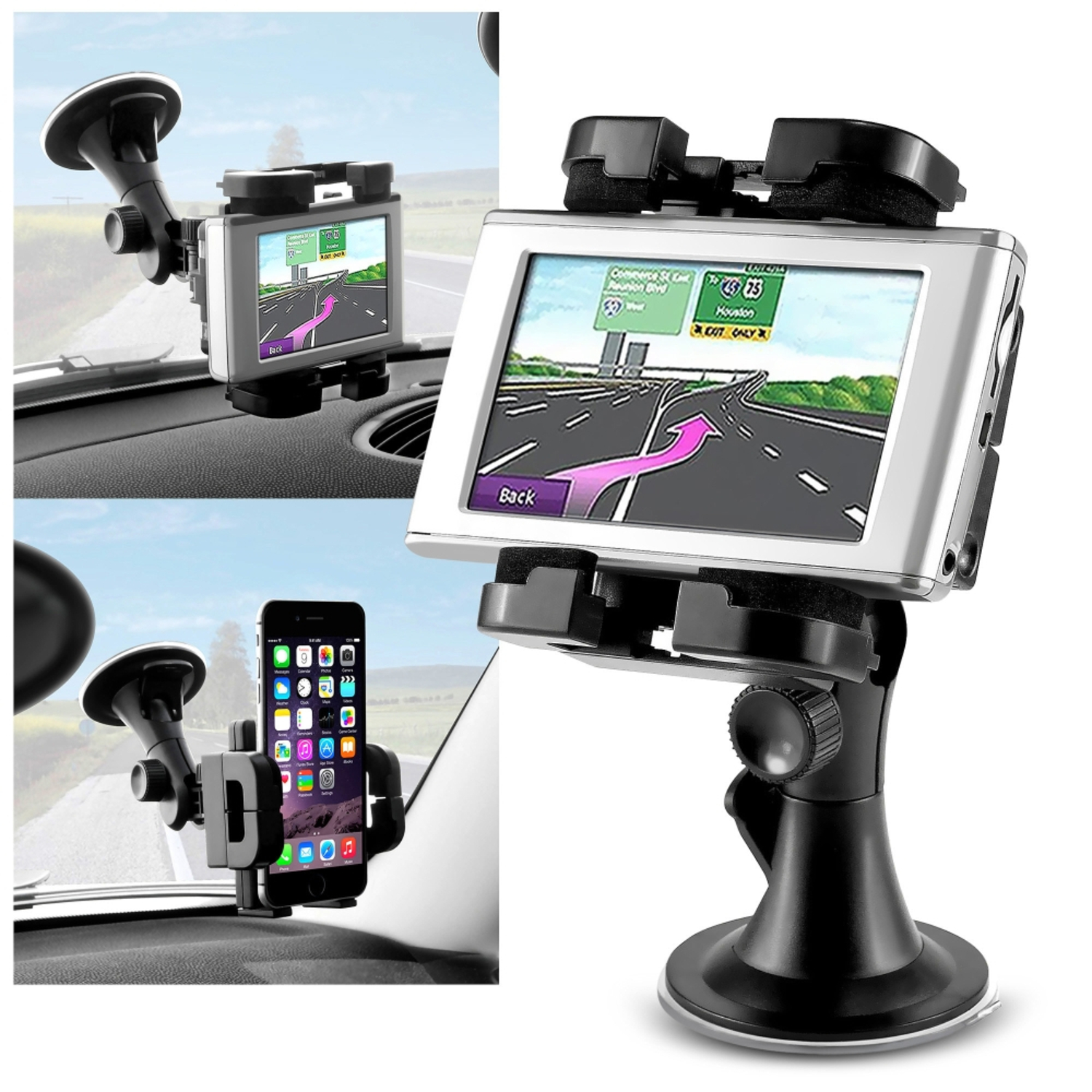 Insten Universal Car GPS Phone Windshield Holder Mount for iPhone 7 6S 6 6+ 7+ Plus 5S SE iPod Touch 6th / Samsung Galaxy Note 5 4 3 S7 S6 S5 S4 S3 Edge On5 J7 Core Prime / LG K7 G5 G4 G Stylo Stylus