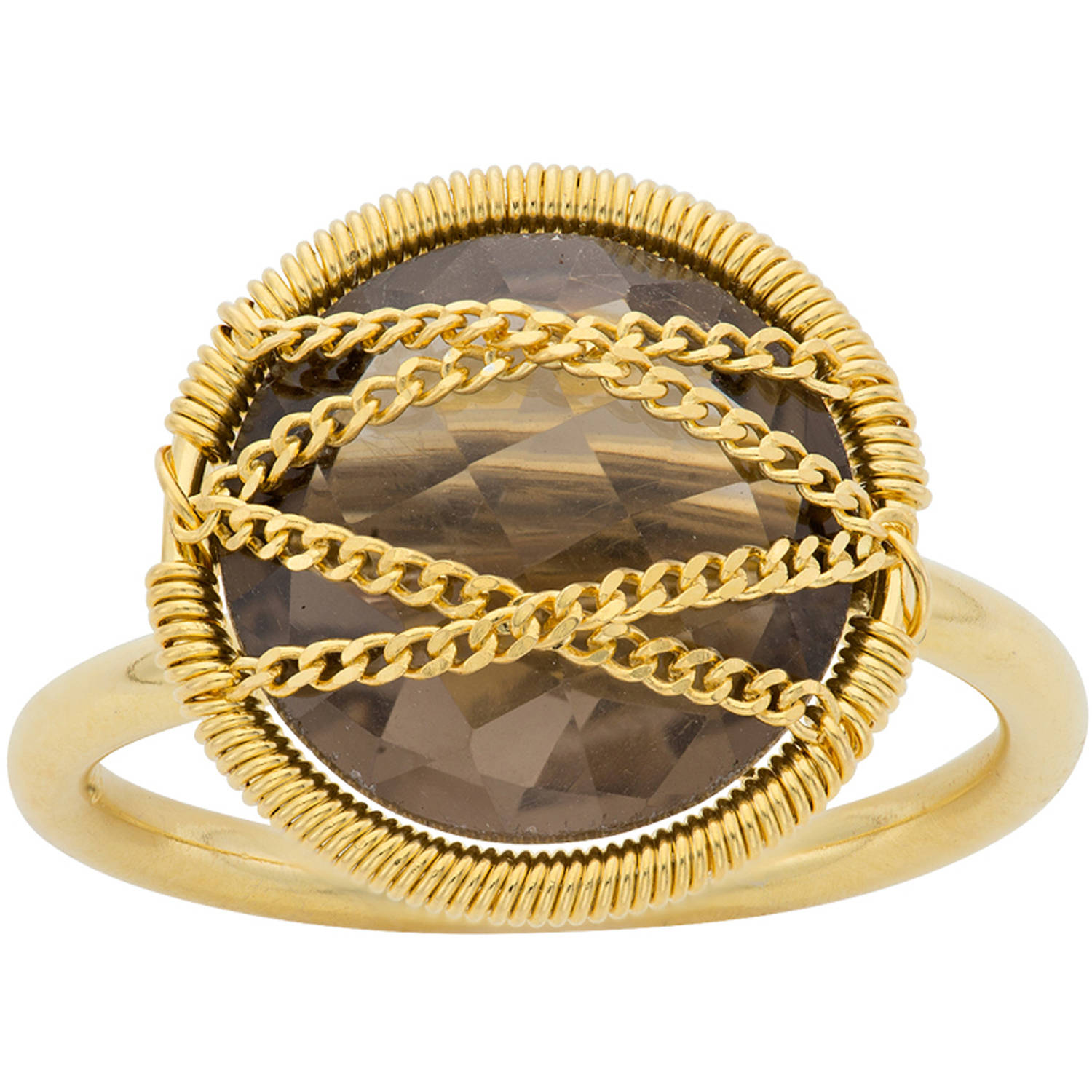 Image of 5th & Main 18kt Gold over Sterling Silver Hand-Wrapped Round Smokey Quartz Stone Ring