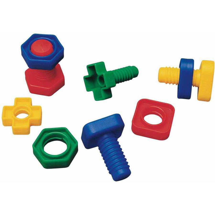 School Specialty Skill Building Nuts and Bolts Set, Plastic, Assorted Colors, Set of 64