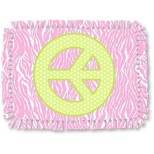 Creative Cuts Microfiber No Sew Throw Fabric Kit, Peace-sign Zebra Print