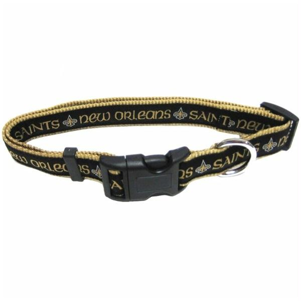 NFL NEW ORLEANS SAINTS DOG COLLAR. 32 NFL Teams & 4 Sizes available. - Strong, Durable, Heavy-Duty PET COLLAR. Officially Licensed Football Collar.