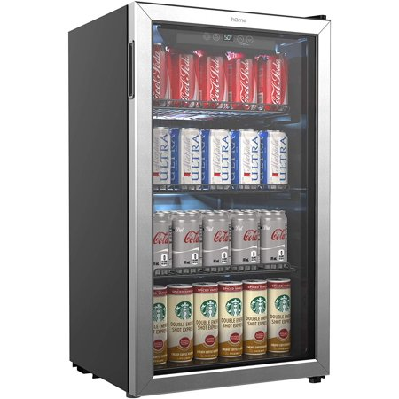 hOmeLabs Beverage Refrigerator and Cooler - 120 Can Mini Fridge with Glass Door for Soda Beer or Wine - Small Drink Dispenser Machine for Office or Bar with Adjustable Removable