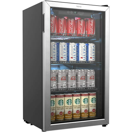 hOmeLabs Beverage Refrigerator and Cooler - 120 Can Mini Fridge with Glass Door for Soda Beer or Wine - Small Drink Dispenser Machine for Office or Bar with Adjustable Removable Shelves - Frigidaire Glass Refrigerator