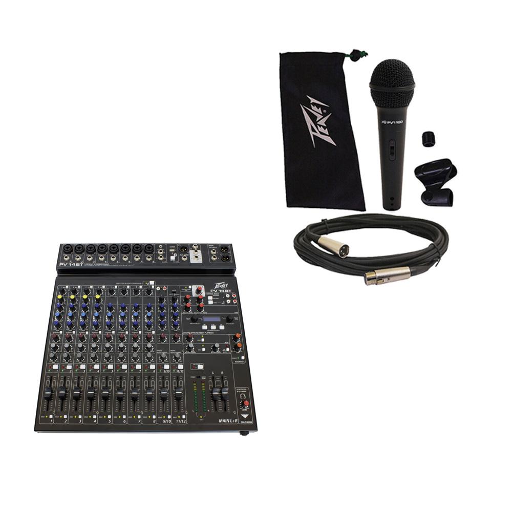 Peavey PV14 BT Pro Audio DJ Bluetooth 14 Channel Mixer & PVi 100 Microphone New
