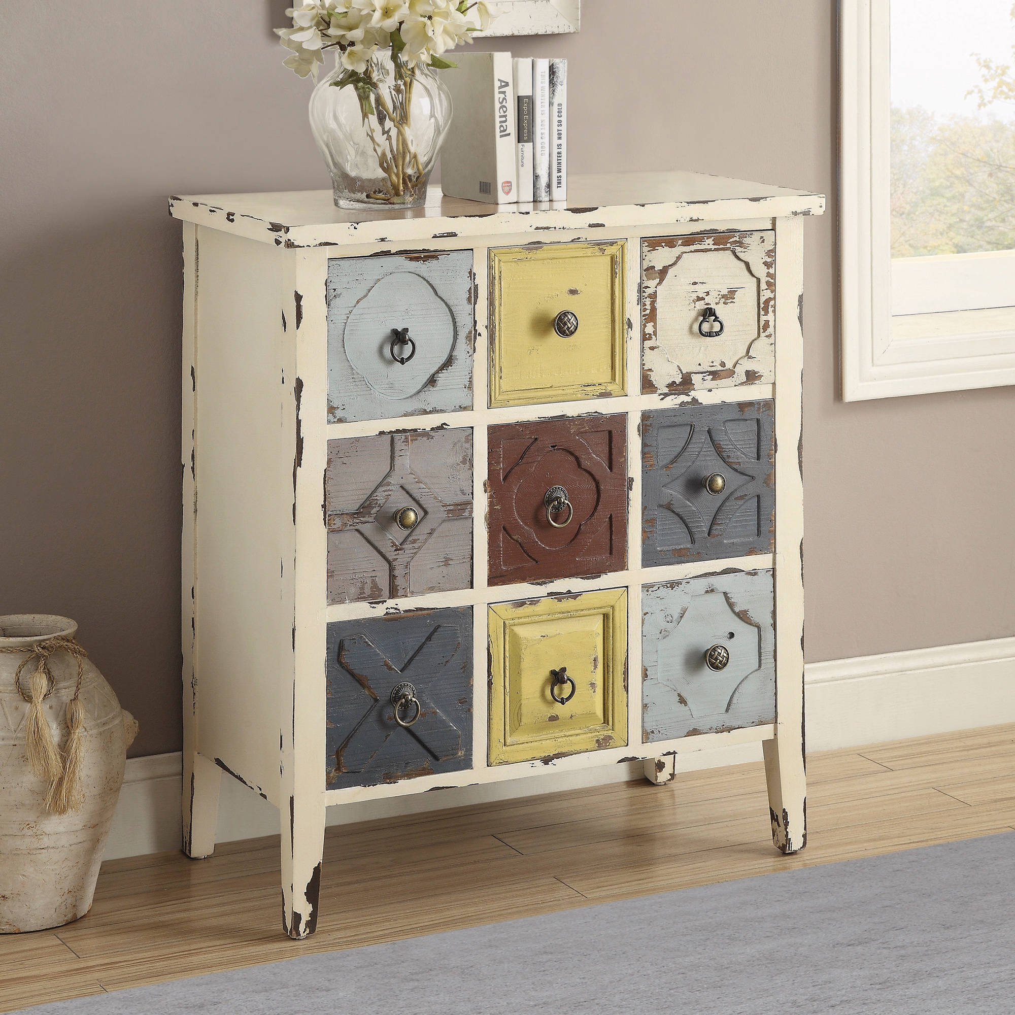 Coaster Eclectic Style Antique White Accent Cabinet