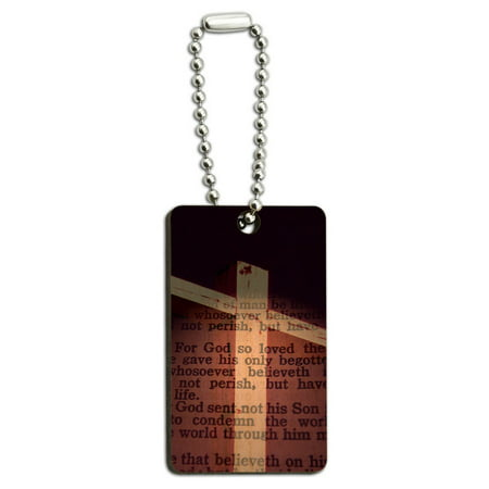 Cross and Bible Verse John 3-16 For God So Loved the World Wood Rectangle Key Chain