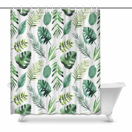 POP Jungle Leaves Tropical Background Bathroom Shower Curtain Decor Set 60x72 inch - image 1 of 1