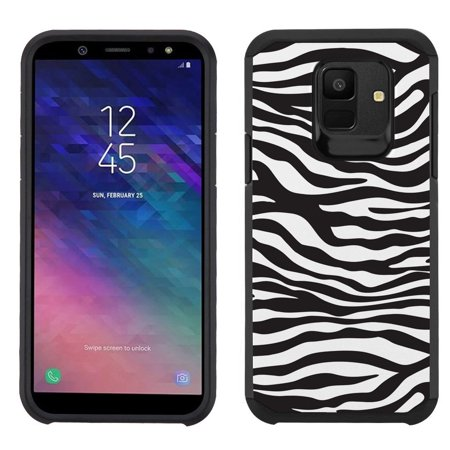 For Samsung Galaxy A6 Case, OneToughShield ® Dual Layer Shockproof Protector Bumper Phone Case - Zebra B/W
