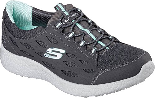 SKECHERS Women's Burst - On Beat Charcoal/Aqua Sneaker 9.5 B (M)