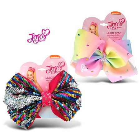 Warp Gadgets Bundle - Jojo Siwa Rainbow Sequin Ponytail Bow & Pastel Rainbow Ponytail Bow w/ Rhinestones On Elastic Hair Band 7x5 (2 Items)