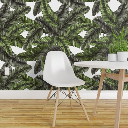 Removable Water Activated Wallpaper Banana Leaf Modern Tropical Jungle