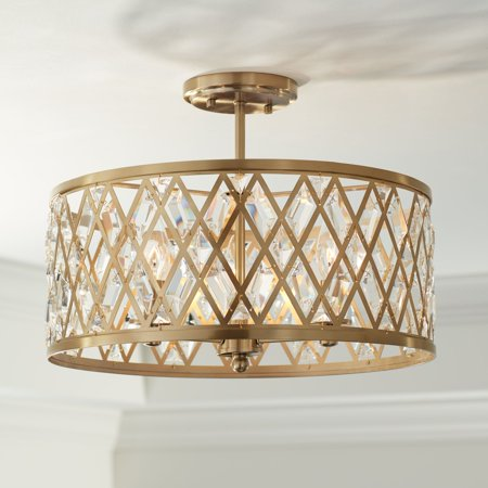 Brass Light Fixture (Possini Euro Design Modern Ceiling Light Semi Flush Mount Fixture Satin Brass Drum 16 1/2