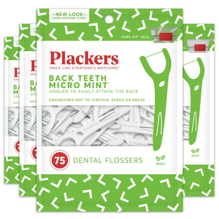 Plackers Back Teeth Micro Mint Dental Floss Picks - 75 Count (Pack of