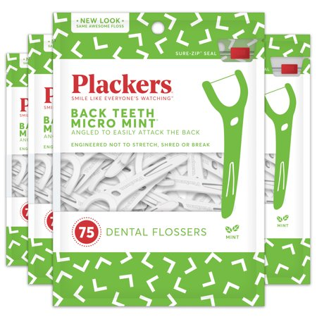- Plackers Back Teeth Micro Mint Dental Floss Picks - 75 Count (Pack of 4)