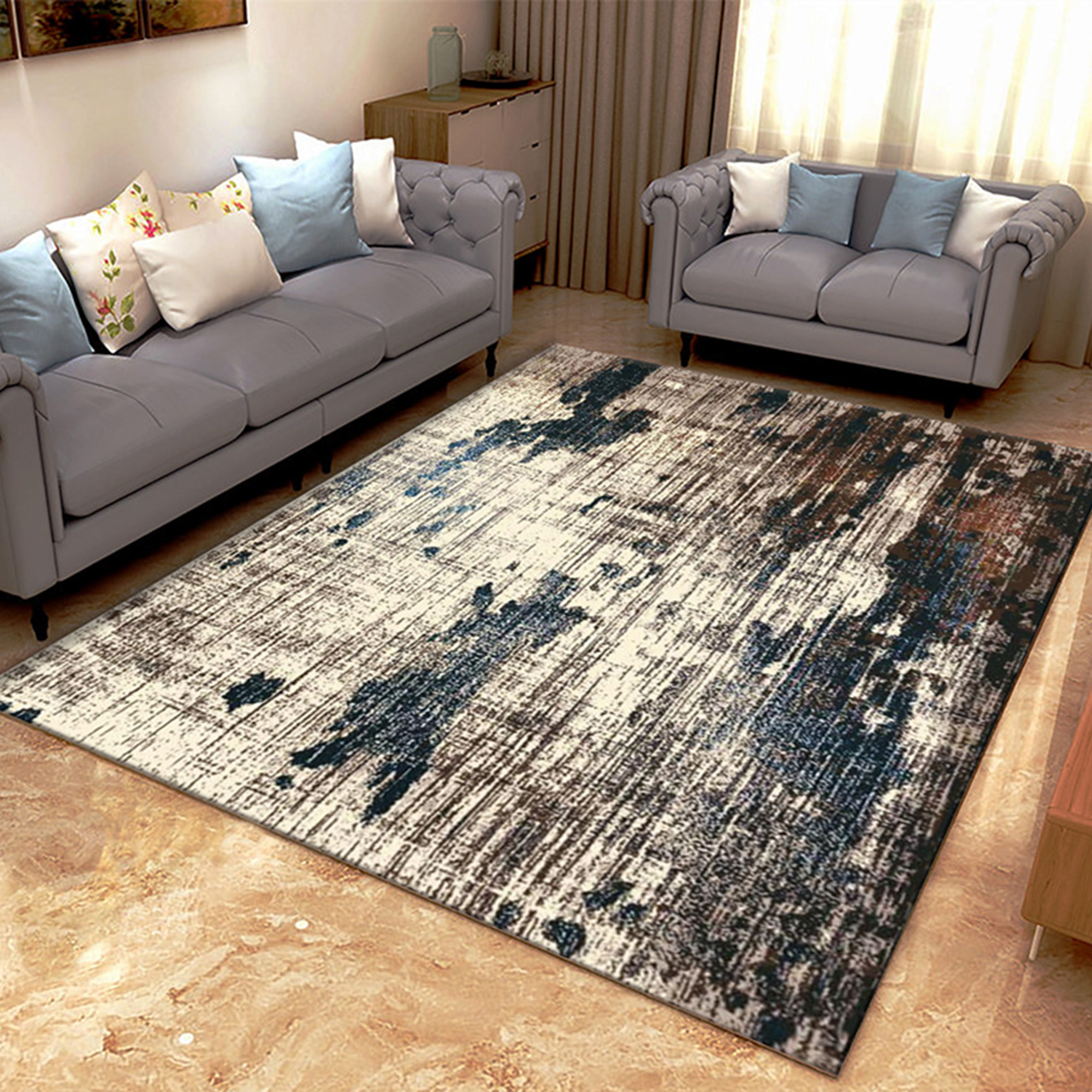 Picture of: Nk Abstract Faded Area Rug Or Runner Boho Vintage Diamond Blue Brown Gray Area Rug Bohemian Easy Cleaning For Bedroom Kitchen Living Room Non Shedding Walmart Com Walmart Com
