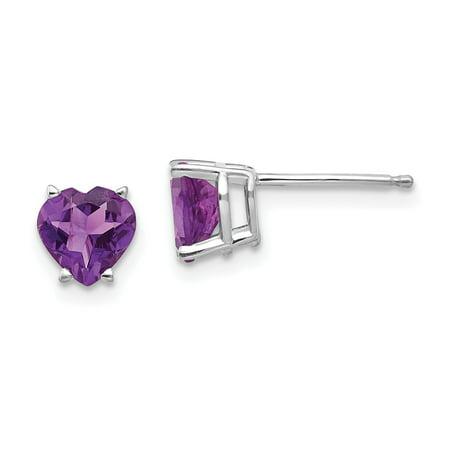 14k White Gold 6mm Heart Purple Amethyst Post Stud Earrings Birthstone February Love Gemstone Fine Jewelry For Women Gifts For Her - image 1 de 7