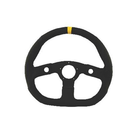 Grant 630 Performance GT Series Steering Wheel; 13.75 in. x 12 1/2 in. Diameter; Flat Dish; D Shape; Black Vinyl Grip w/Yellow Top Marker; Black Anodized Aluminum 3-Spoke;