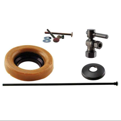 Westbrass WBD1614TBL-12 . 5 inch Nominal Compression Lever Handle Angle Stop Toilet Installation Kit in Oil Rubbed Bronze
