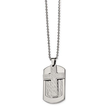 Stainless Steel Polished and Textured Cross and Dog tag Necklace 24in - image 4 de 4