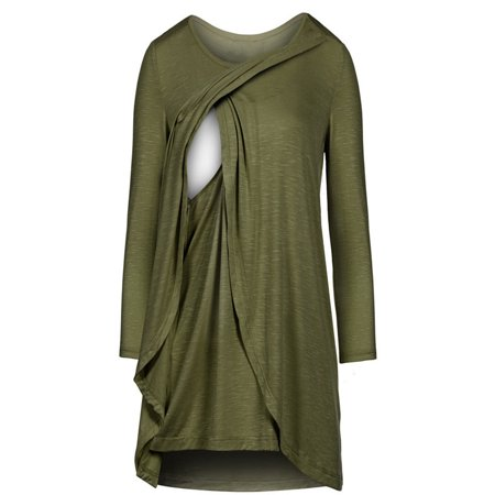 Women Long Sleeve Asymmetrical Hem Nursing Tunic Tops For Breastfeeding