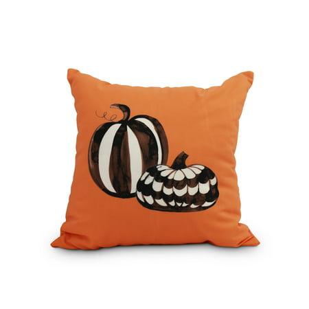 Halloween Duo.Pumpkin Duo 16 Inch Orange Halloween Print Decorative Throw Pillow