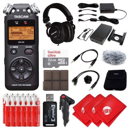 - TASCAM Portable Handheld Digital Audio Recorder, Mixing Headphone, 32GB Memory Card, 12 pcs AA LR6 Super Alkaline Batteries, 3 pcs Microfiber Cleaning Cloth and Accessory Bundle, Black (DR-05)