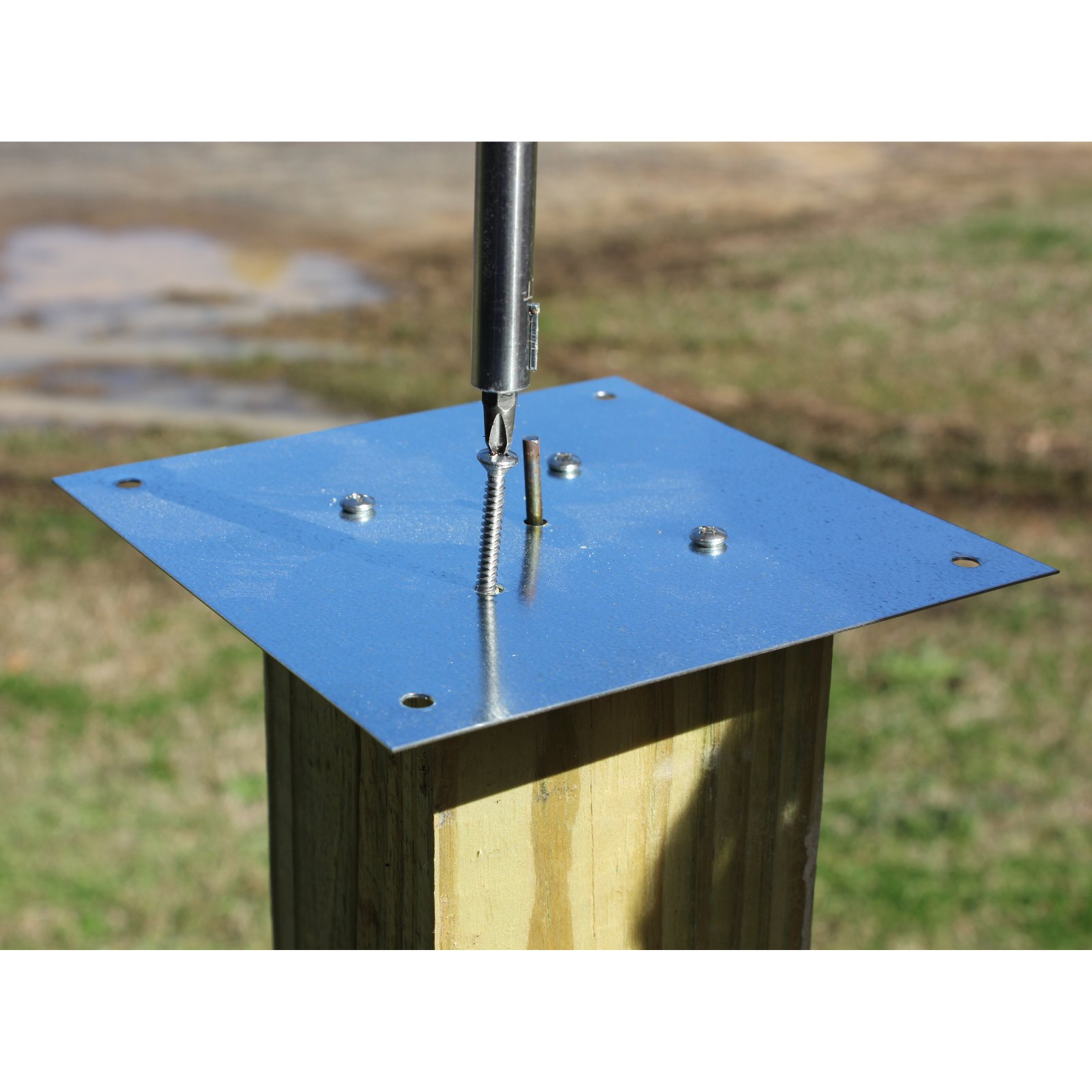 Heartwood Metal Bird House Mounting Plate with Screws