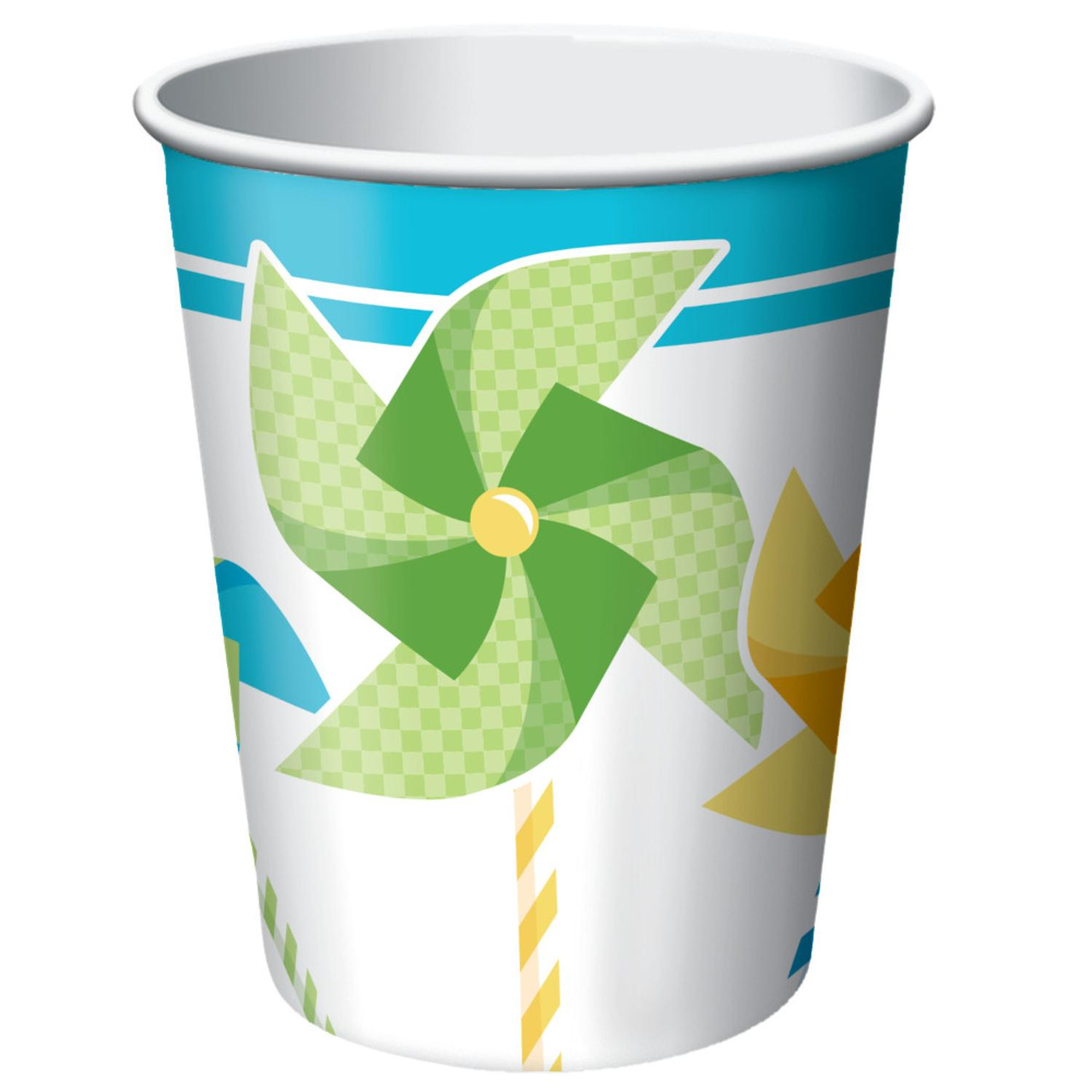Club Pack of 96 Blue Pinwheel Boy Turning One Disposable Paper Hot and Cold Drinking Party Cups 9 oz.