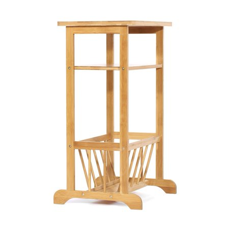 TOPINCN 2 Tier Bamboo Sofa Side End Table Telephone / Coffee / End / Storage Rack