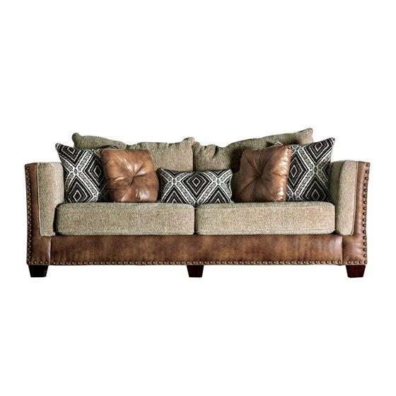 Furniture of America Noland Dual Fabric Sofa in Beige and Brown