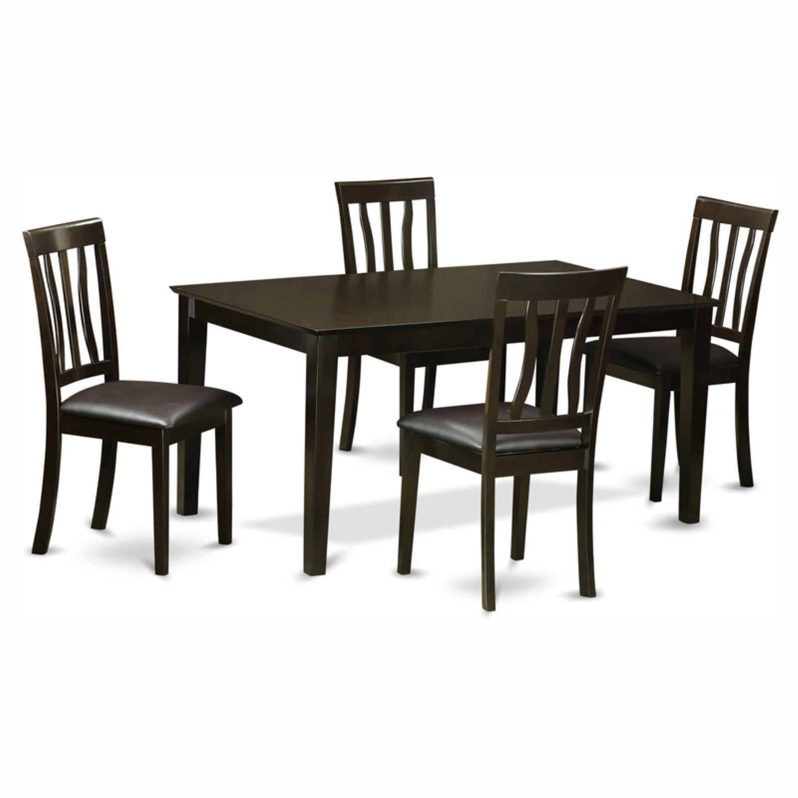 East West Furniture Capris 5 Piece Rectangular Dining Table Set with Antique Faux Leather Seat Chairs