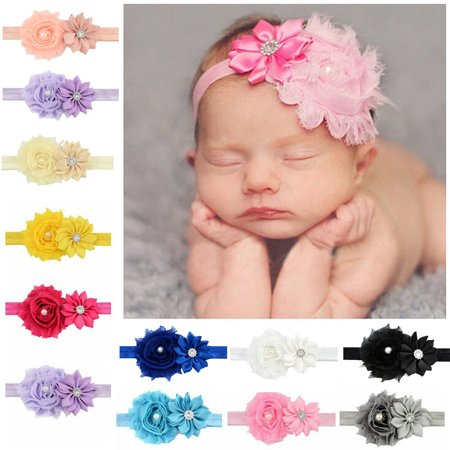 12Pcs Baby Hairband Fashion Rhinestone Big Flower Decorative Hair Wrap Band Hair Band Headbands Art Photo Props Hair Accessories for Newborn Baby Toddler Kids Child Girls - Flower Hairband