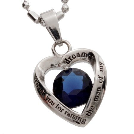 Womens Stainless Steel Heart Pendant, Mother in Law Dark Blue Glass Crystal  Pendant