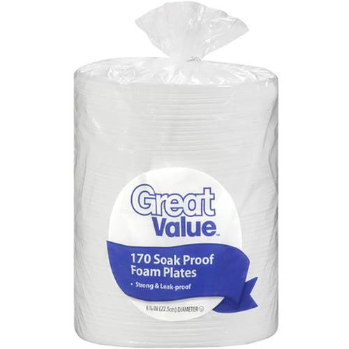 "Great Value 8.875"" Soak Proof Foam Plates, 170ct"