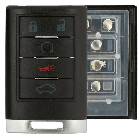 KeylessOption Just The Case Keyless Entry Remote Key Fob Shell OUC6000066 3BTN for 2008-2013 Cadillac CTS SRX STS