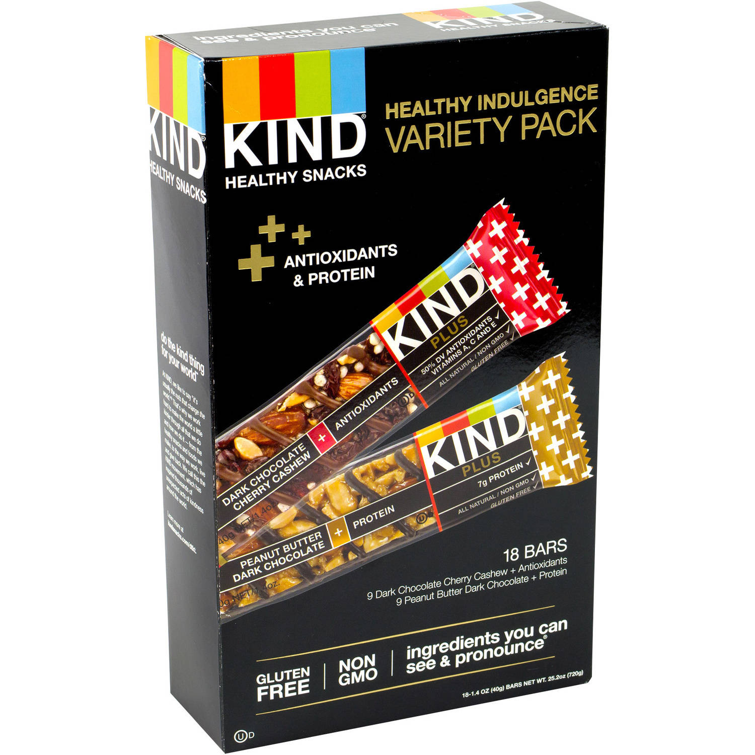 Kind Plus Healthy Indulgence Antioxidants & Protein Bar Variety Pack, 1.4 oz, 18 count