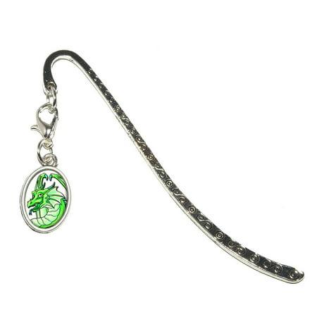 Dragon Happy Green - Cute Fantasy Oval Charm Metal Bookmark
